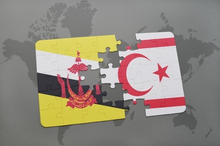 puzzle with the national flag of brunei and northern cyprus on a world map background. 3D illustration Stock Photo
