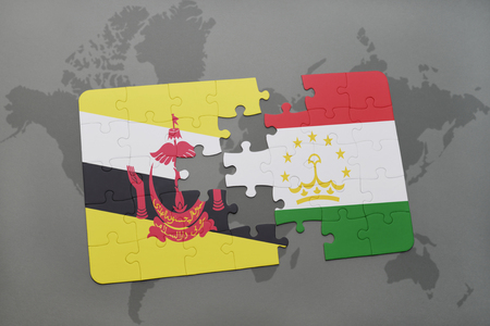 map of brunei: puzzle with the national flag of brunei and tajikistan on a world map background. 3D illustration