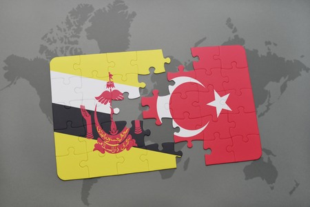 map of brunei: puzzle with the national flag of brunei and turkey on a world map background. 3D illustration