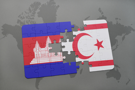 cambodian flag: puzzle with the national flag of cambodia and northern cyprus on a world map background. 3D illustration