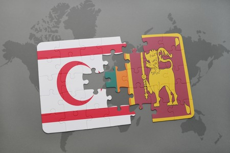 ceylon: puzzle with the national flag of northern cyprus and sri lanka on a world map background. 3D illustration Stock Photo