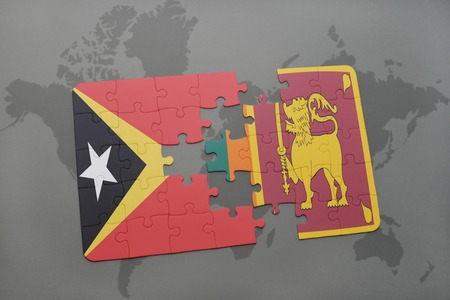 colombo: puzzle with the national flag of east timor and sri lanka on a world map background. 3D illustration