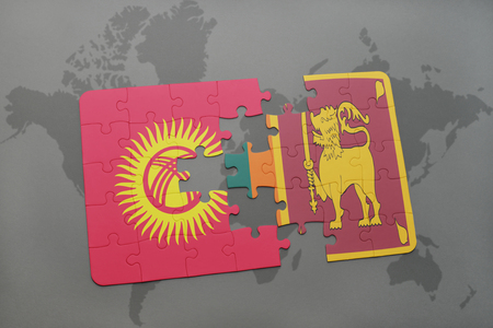 colombo: puzzle with the national flag of kyrgyzstan and sri lanka on a world map background. 3D illustration