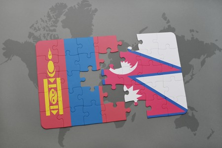 mongolia: puzzle with the national flag of mongolia and nepal on a world map background. 3D illustration Stock Photo