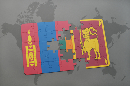 colombo: puzzle with the national flag of mongolia and sri lanka on a world map background. 3D illustration