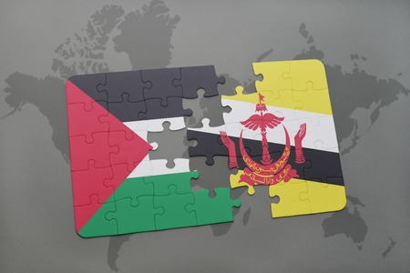 map of brunei: puzzle with the national flag of palestine and brunei on a world map background. 3D illustration