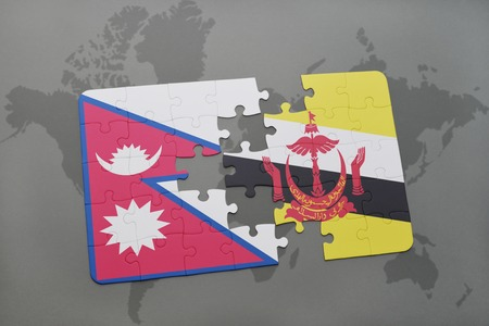 map of brunei: puzzle with the national flag of nepal and brunei on a world map background. 3D illustration