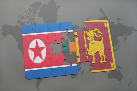 ceylon: puzzle with the national flag of north korea and sri lanka on a world map background. 3D illustration