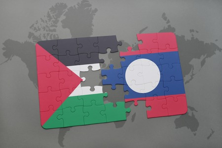 puzzle with the national flag of palestine and laos on a world map background. 3D illustration