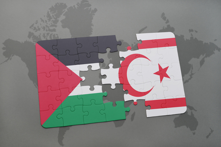 puzzle with the national flag of palestine and northern cyprus on a world map background. 3D illustration