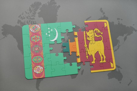 ceylon: puzzle with the national flag of turkmenistan and sri lanka on a world map background. 3D illustration