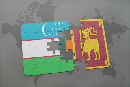 ceylon: puzzle with the national flag of uzbekistan and sri lanka on a world map background. 3D illustration