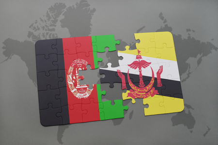 map of brunei: puzzle with the national flag of afghanistan and brunei on a world map background. 3D illustration Stock Photo