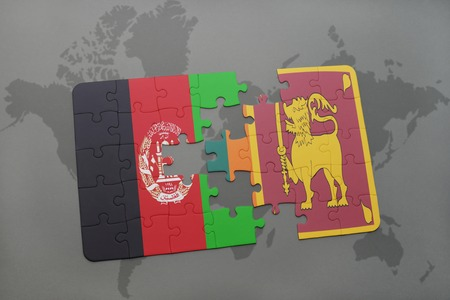 ceylon: puzzle with the national flag of afghanistan and sri lanka on a world map background. 3D illustration