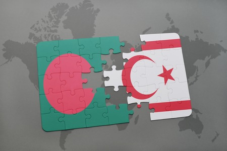 puzzle with the national flag of bangladesh and northern cyprus on a world map background. 3D illustration