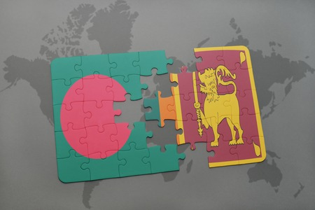 colombo: puzzle with the national flag of bangladesh and sri lanka on a world map background. 3D illustration Stock Photo
