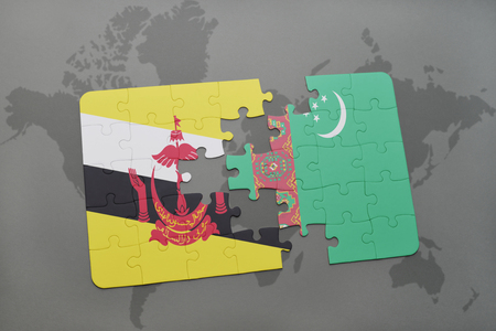 map of brunei: puzzle with the national flag of brunei and turkmenistan on a world map background. 3D illustration