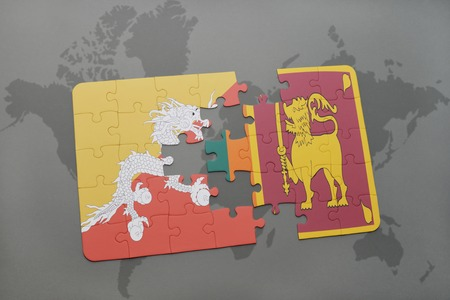 colombo: puzzle with the national flag of bhutan and sri lanka on a world map background. 3D illustration