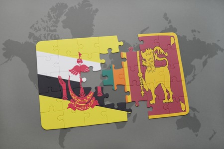 map of brunei: puzzle with the national flag of brunei and sri lanka on a world map background. 3D illustration