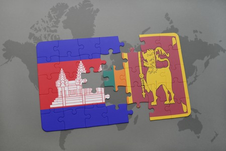 cambodian flag: puzzle with the national flag of cambodia and sri lanka on a world map background. 3D illustration
