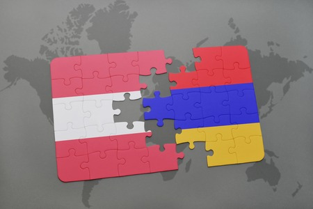 yerevan: puzzle with the national flag of austria and armenia on a world map background. 3D illustration