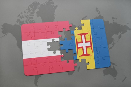puzzle with the national flag of austria and madeira on a world map background. 3D illustration