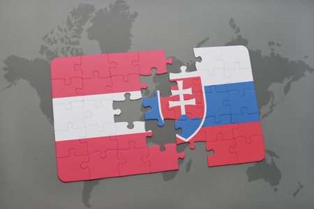 puzzle with the national flag of austria and slovakia on a world map background. 3D illustration