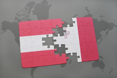 maltese map: puzzle with the national flag of austria and malta on a world map background. 3D illustration