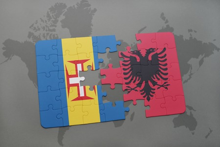 madeira: puzzle with the national flag of madeira and albania on a world map background. 3D illustration