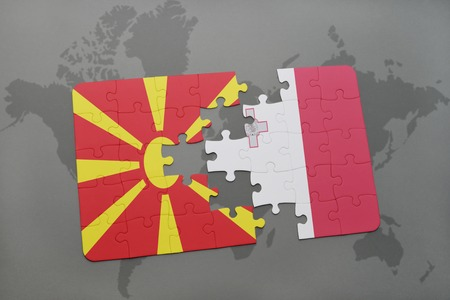 maltese map: puzzle with the national flag of macedonia and malta on a world map background. 3D illustration
