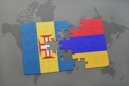 madeira: puzzle with the national flag of madeira and armenia on a world map background. 3D illustration Stock Photo