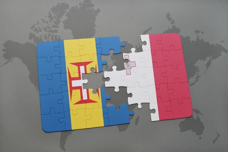 maltese map: puzzle with the national flag of madeira and malta on a world map background. 3D illustration