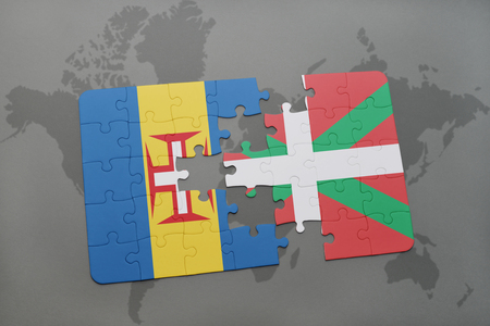 puzzle with the national flag of madeira and basque country on a world map background. 3D illustration