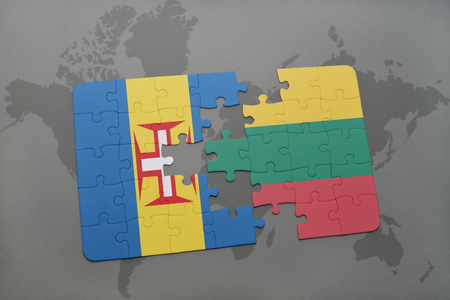 madeira: puzzle with the national flag of madeira and lithuania on a world map background. 3D illustration Stock Photo