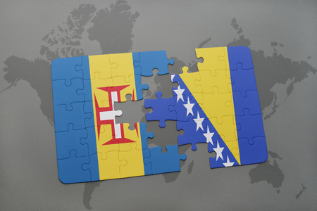 madeira: puzzle with the national flag of madeira and bosnia and herzegovina on a world map background. 3D illustration