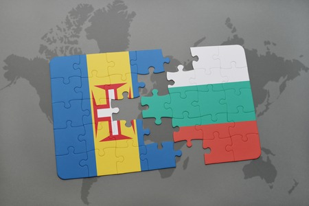 madeira: puzzle with the national flag of madeira and bulgaria on a world map background. 3D illustration