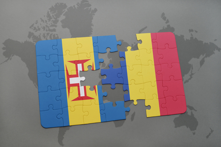 madeira: puzzle with the national flag of madeira and romania on a world map background. 3D illustration Stock Photo