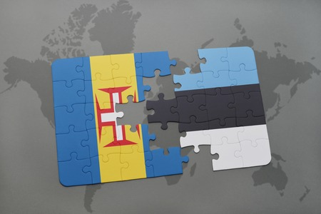 puzzle with the national flag of madeira and estonia on a world map background. 3D illustration Stock Photo