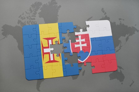 madeira: puzzle with the national flag of madeira and slovakia on a world map background. 3D illustration