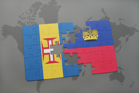 madeira: puzzle with the national flag of madeira and liechtenstein on a world map background. 3D illustration Stock Photo