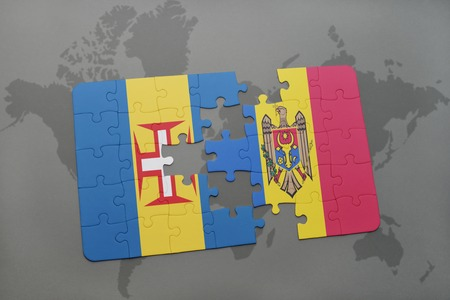 puzzle with the national flag of madeira and moldova on a world map background. 3D illustration