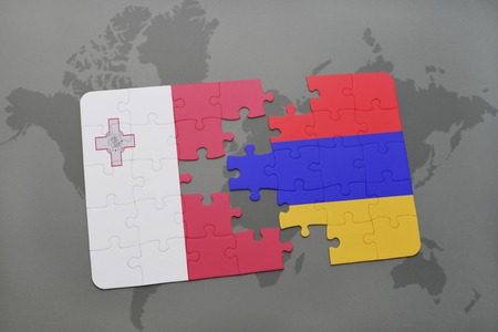 malta map: puzzle with the national flag of malta and armenia on a world map background. 3D illustration