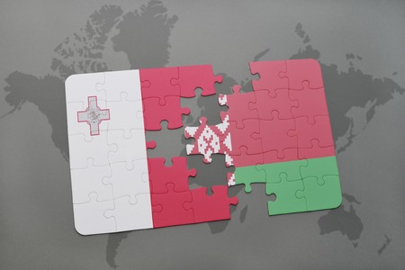 maltese map: puzzle with the national flag of malta and belarus on a world map background. 3D illustration
