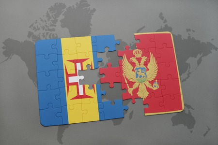 madeira: puzzle with the national flag of madeira and montenegro on a world map background. 3D illustration Stock Photo
