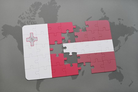 maltese map: puzzle with the national flag of malta and on a world map background. 3D illustration Stock Photo
