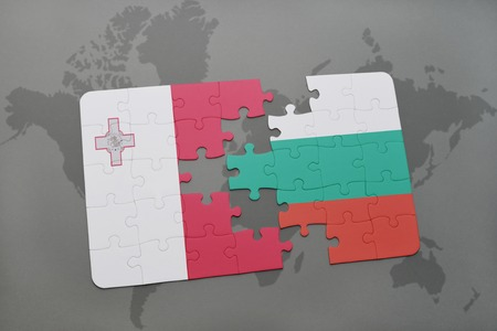 malta map: puzzle with the national flag of malta and bulgaria on a world map background. 3D illustration