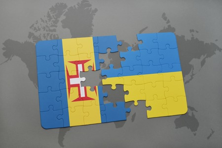 madeira: puzzle with the national flag of madeira and ukraine on a world map background. 3D illustration
