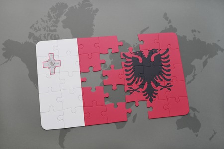 maltese map: puzzle with the national flag of malta and albania on a world map background. 3D illustration