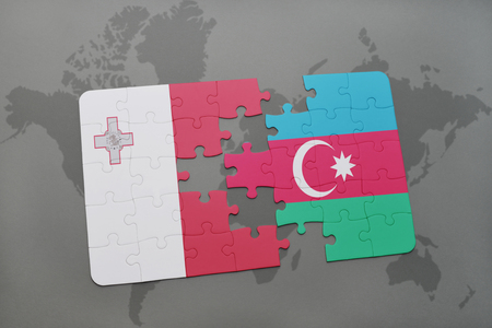 maltese map: puzzle with the national flag of malta and azerbaijan on a world map background. 3D illustration