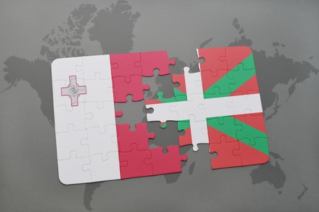 malta map: puzzle with the national flag of malta and basque country on a world map background. 3D illustration
